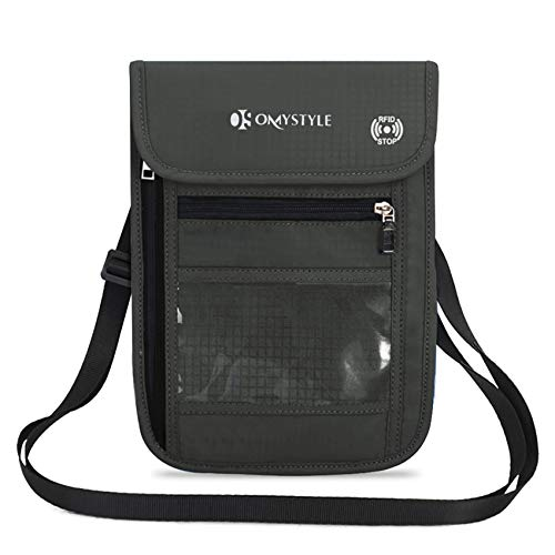 OMYSTYLE Travel Neck Pouch, RFID Passport Holder with Adjustable Neck Strap, Waterproof Neck Wallet for Men &...