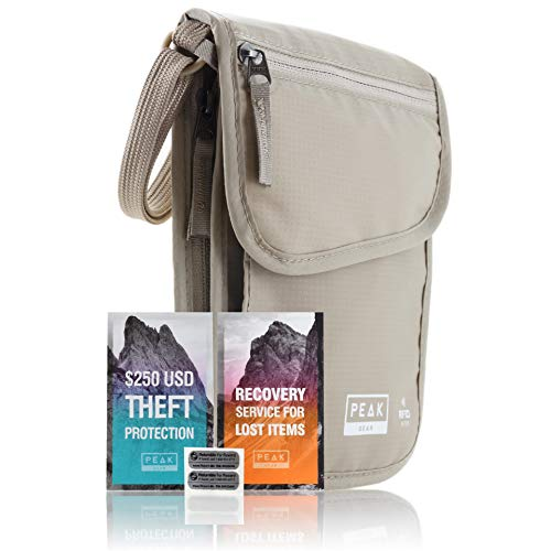 RFID Neck Wallet - The Original Travel Pouch with Adjustable Crossbody Strap + Theft Protection and Lost &...