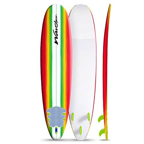 Wavestorm 8ft Surfboard // Foam Wax Free Soft Top Longboard for Adults and Kids of All Levels of Surfing,...