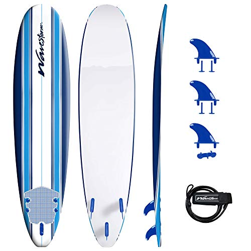 Wavestorm 8ft Classic Surfboard // Foam Wax Free Soft Top Longboard for Adults and Kids of All Levels of...