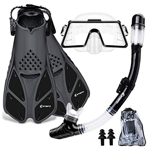 CHYBFU Mask Fins Snorkel Set with Adults Snorkeling Gear, Panoramic View Diving Mask, Dry Top Snorkel, Diving...