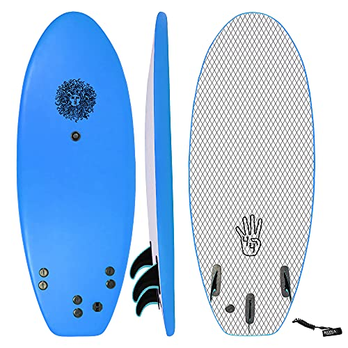 KONA SURF CO. The 4-4 Surfboard for Beginners Kids and Adults - Soft Top Foam Surfboards for Beach – Surf as...