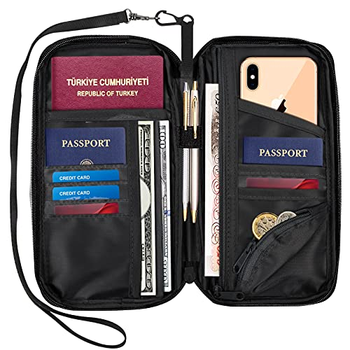 Travel Wallet Document Organizer RFID Family Passport Holder with Neck Strap, Credit Card Clutch Bag for Men...