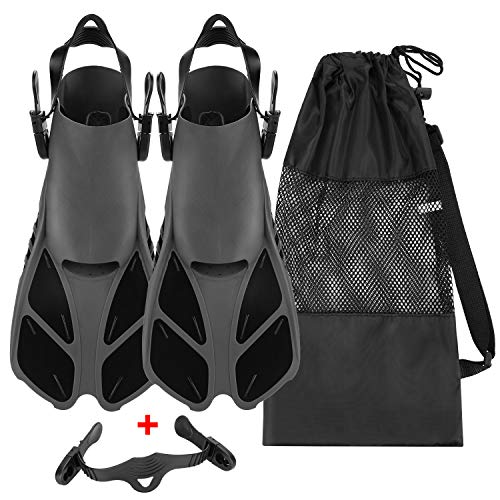 Oumers Snorkel Fins, Travel Size Adjustable Strap Diving Flippers with Mesh Bag and Extra Buckle Connector for...
