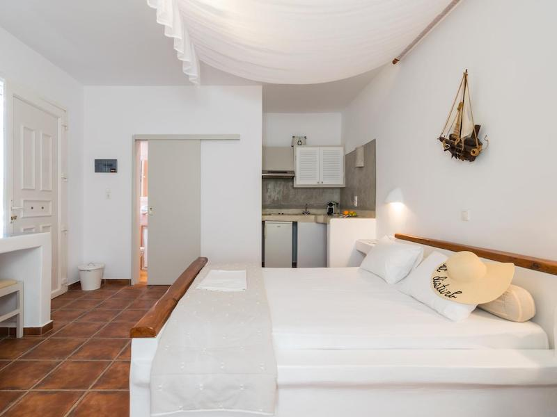 Minimalistic style in one of the places to stay near Sarakiniko Beach
