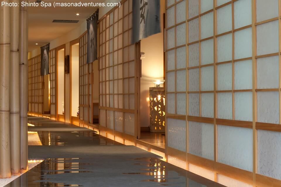 The interior is designed to echo a traditional Japanese home