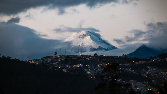 Quito with Andean Mountains in background