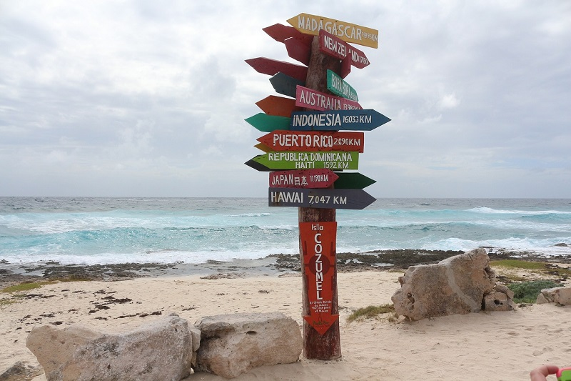 Cozumel beach sign