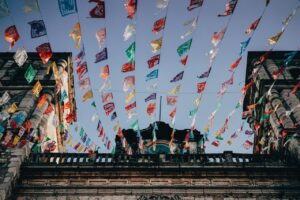 Flags at Temple in Mexico