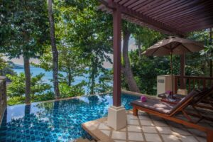 Crown Lanta Resort pool and sunbed - where to stay in Koh Lanta
