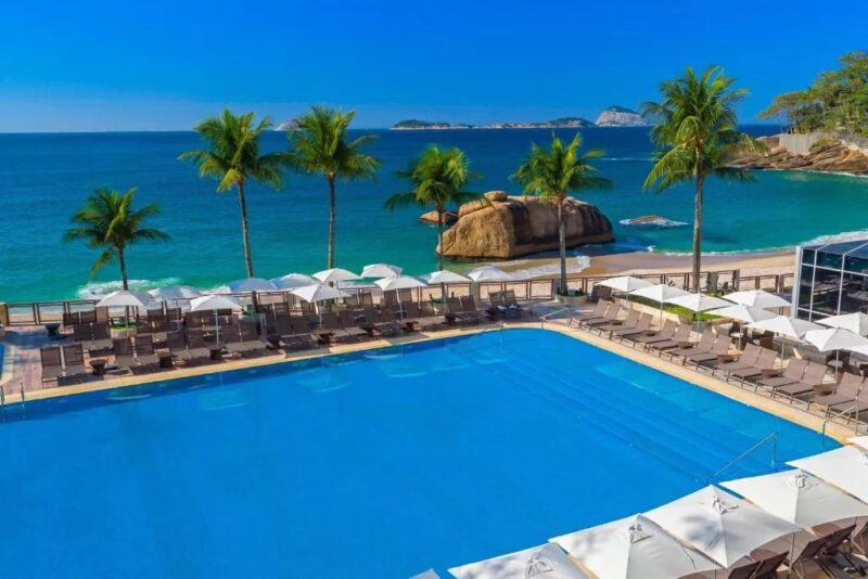 A pool with a view at the Sheraton