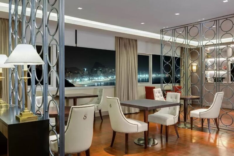An inside look at the ocean view restaurant in the Sheraton