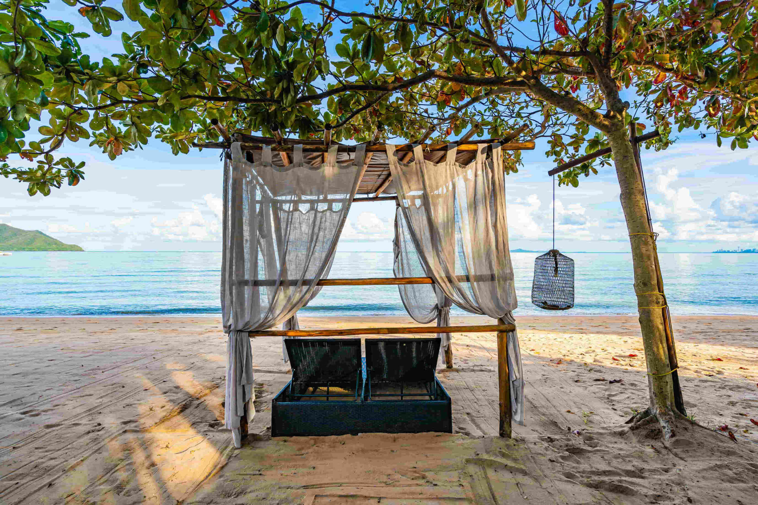 Two sunloungers on the beach in Mauritius